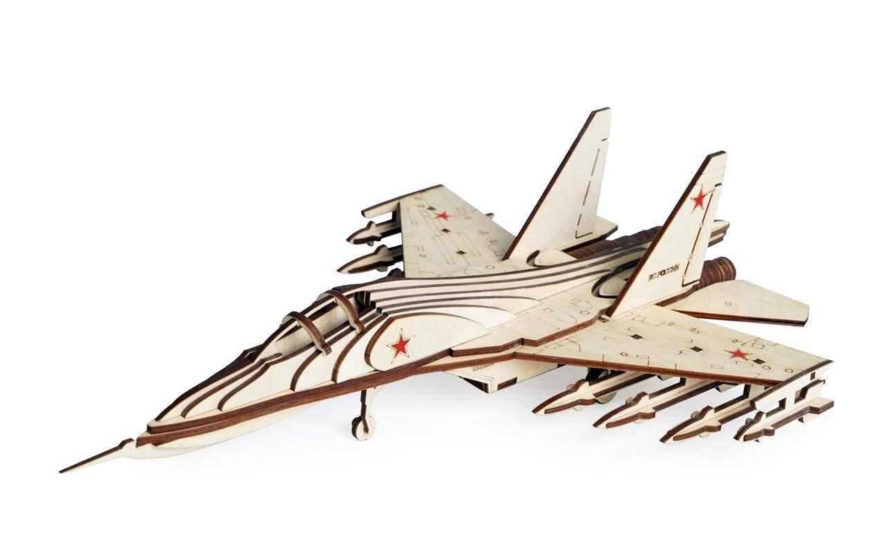 Купить Российский истребитель СУ-30 конструктор Lemmo из дерева